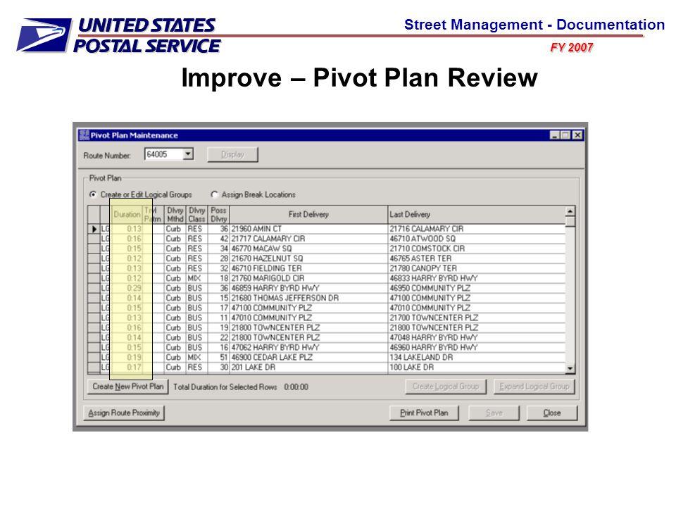 FY 2007 Street Management - Documentation Improve – Pivot Plan Review