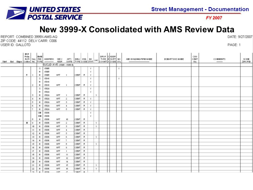 FY 2007 Street Management - Documentation New 3999-X Consolidated with AMS Review Data