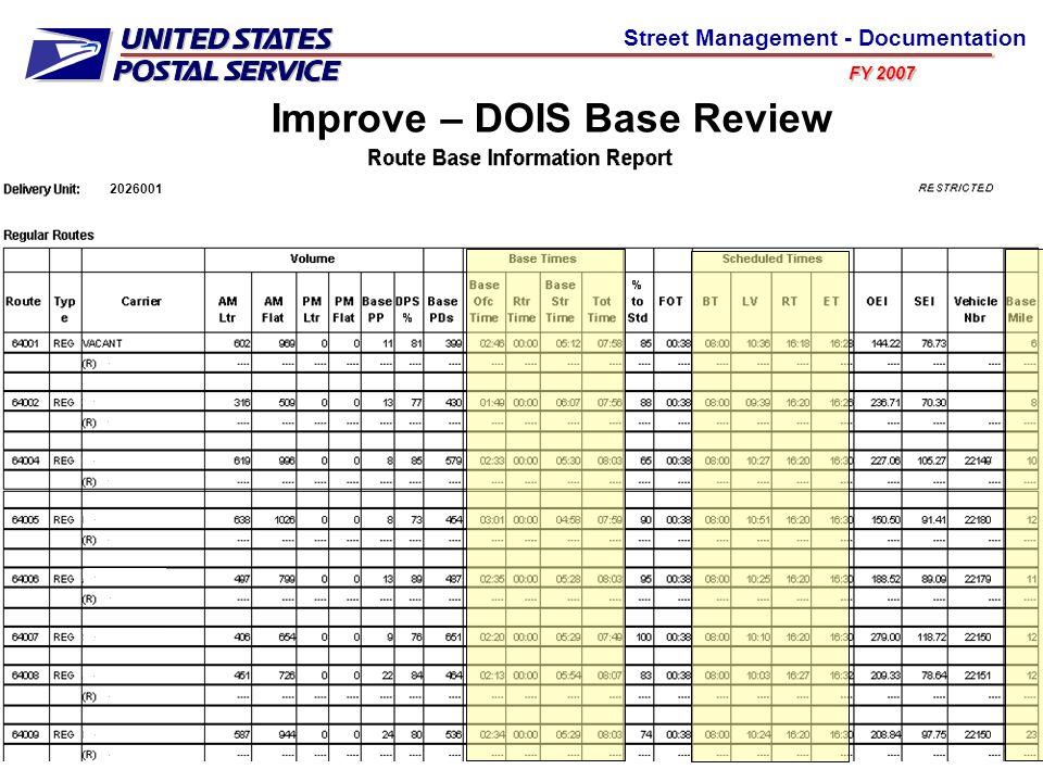 FY 2007 Street Management - Documentation 2026001.............. Improve – DOIS Base Review