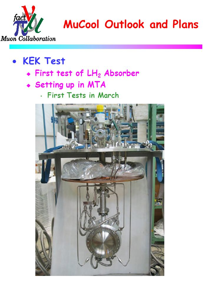 MuCool Outlook and Plans  KEK Test u First test of LH 2 Absorber u Setting up in MTA s First Tests in March