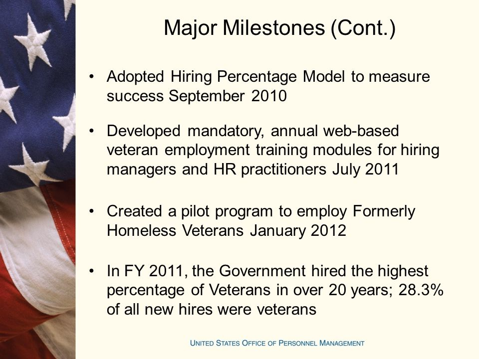 Major Milestones (Cont.) Adopted Hiring Percentage Model to measure success September 2010 Developed mandatory, annual web-based veteran employment training modules for hiring managers and HR practitioners July 2011 Created a pilot program to employ Formerly Homeless Veterans January 2012 In FY 2011, the Government hired the highest percentage of Veterans in over 20 years; 28.3% of all new hires were veterans