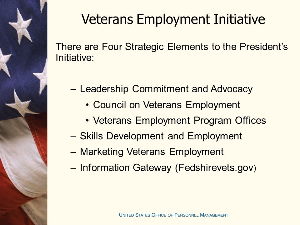 Veterans Employment Initiative There are Four Strategic Elements to the President's Initiative: –Leadership Commitment and Advocacy Council on Veterans Employment Veterans Employment Program Offices –Skills Development and Employment –Marketing Veterans Employment –Information Gateway (Fedshirevets.gov )