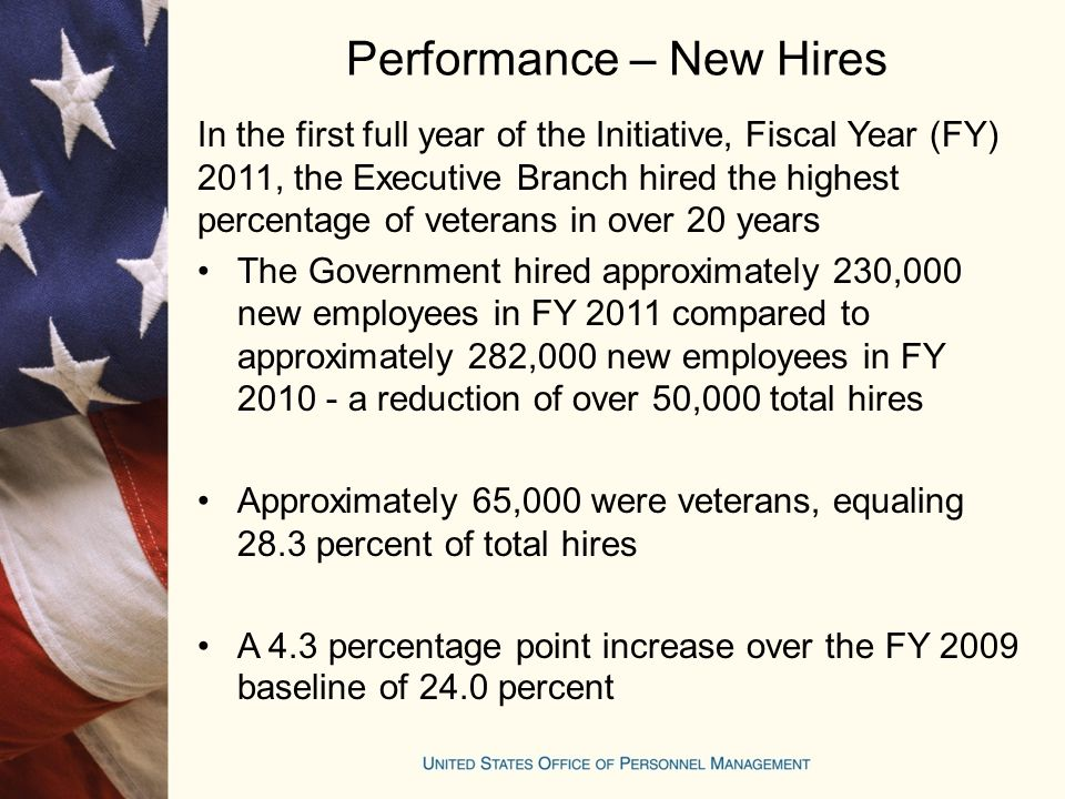Performance – New Hires In the first full year of the Initiative, Fiscal Year (FY) 2011, the Executive Branch hired the highest percentage of veterans in over 20 years The Government hired approximately 230,000 new employees in FY 2011 compared to approximately 282,000 new employees in FY 2010 - a reduction of over 50,000 total hires Approximately 65,000 were veterans, equaling 28.3 percent of total hires A 4.3 percentage point increase over the FY 2009 baseline of 24.0 percent