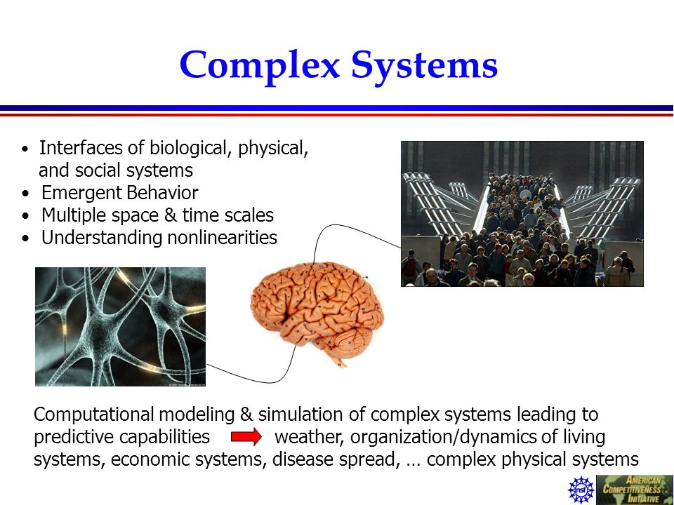 Complex Systems Interfaces of biological, physical, and social systems Emergent Behavior Multiple space & time scales Understanding nonlinearities Com