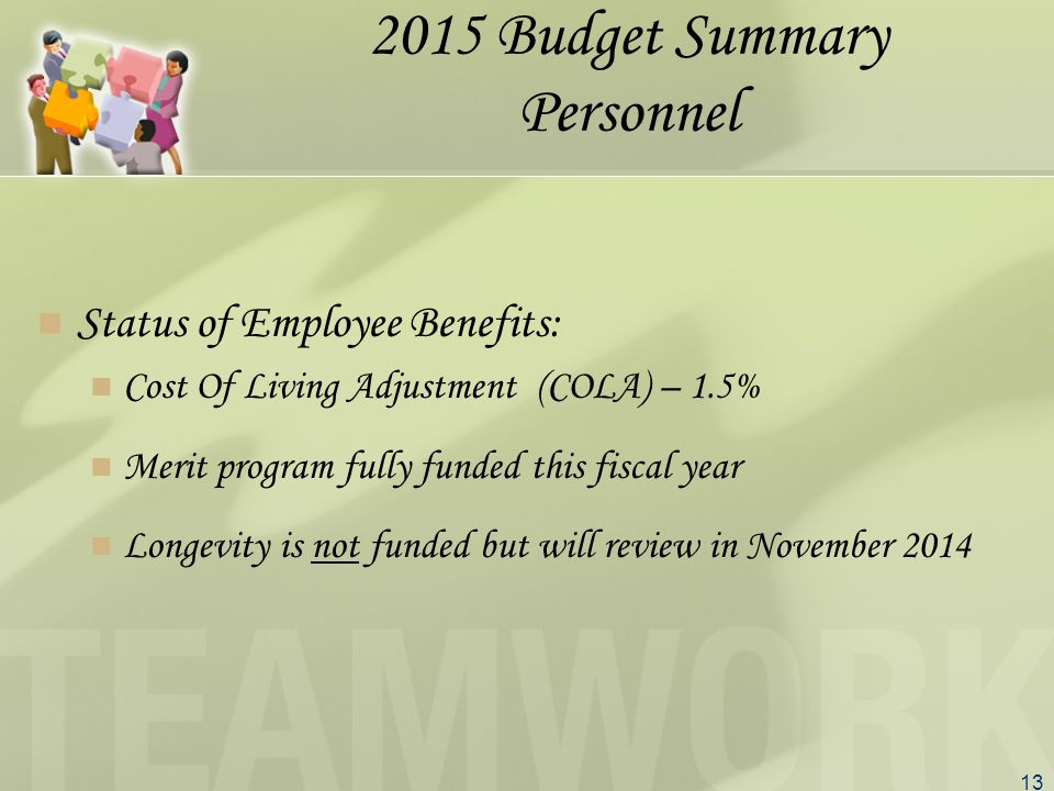 13 2015 Budget Summary Personnel Status of Employee Benefits: Cost Of Living Adjustment (COLA) – 1.5% Merit program fully funded this fiscal year Longevity is not funded but will review in November 2014