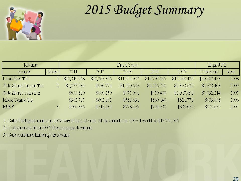 29 2015 Budget Summary