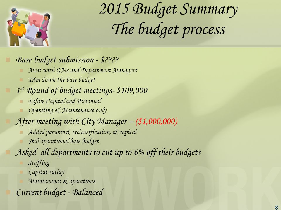 8 2015 Budget Summary The budget process Base budget submission - $ .