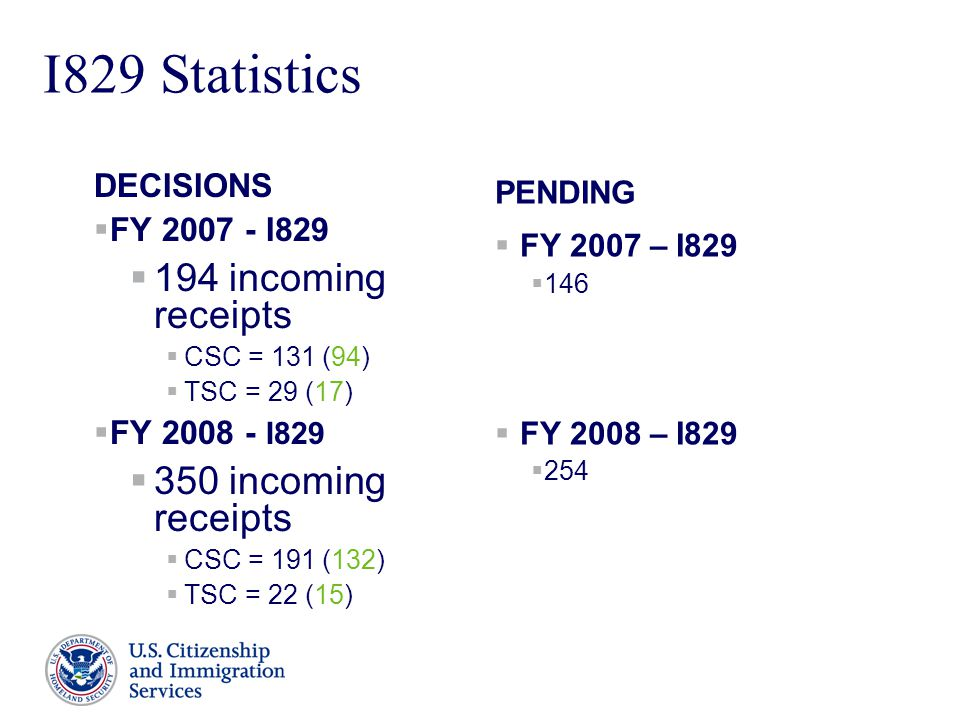 Presenter's Name June 17, 2003 7 I829 Statistics DECISIONS  FY 2007 - I829  194 incoming receipts  CSC = 131 (94)  TSC = 29 (17)  FY 2008 - I829  350 incoming receipts  CSC = 191 (132)  TSC = 22 (15) PENDING  FY 2007 – I829  146  FY 2008 – I829  254