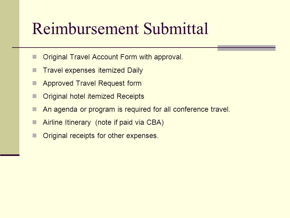 Original Travel Account Form with approval.