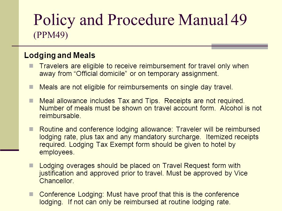 Travelers are eligible to receive reimbursement for travel only when away from Official domicile or on temporary assignment.