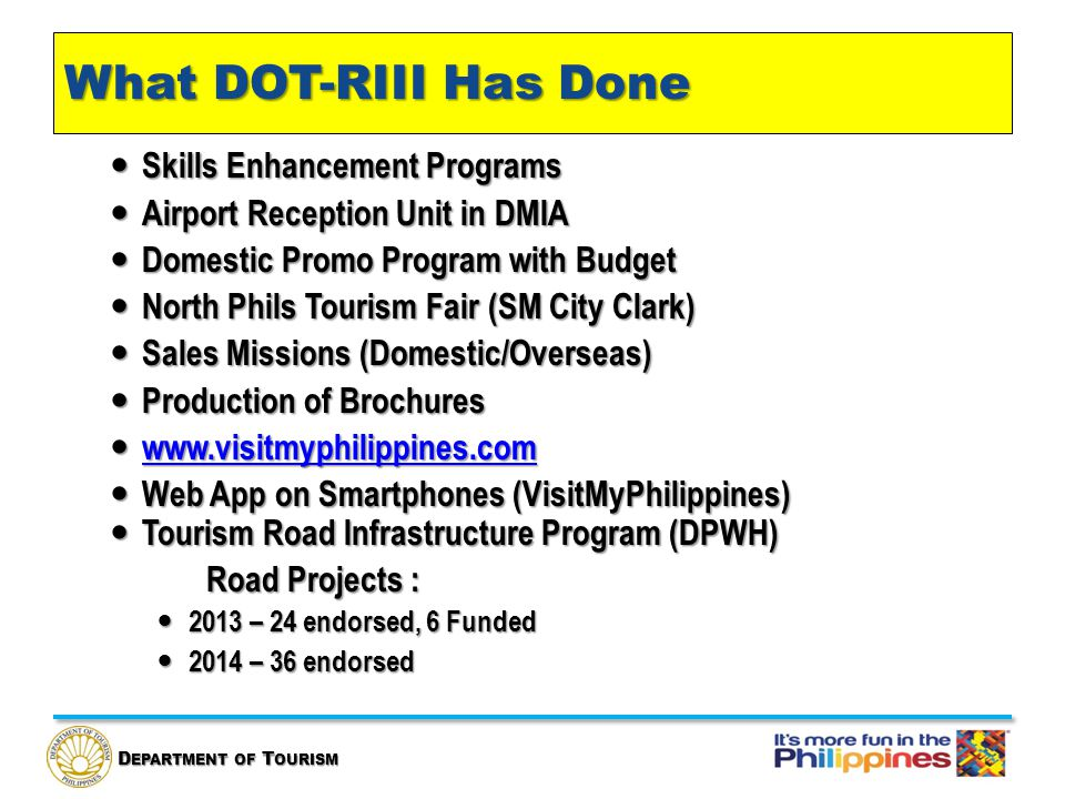 D EPARTMENT OF T OURISM What DOT-RIII Has Done Skills Enhancement Programs Skills Enhancement Programs Airport Reception Unit in DMIA Airport Reception Unit in DMIA Domestic Promo Program with Budget Domestic Promo Program with Budget North Phils Tourism Fair (SM City Clark) North Phils Tourism Fair (SM City Clark) Sales Missions (Domestic/Overseas) Sales Missions (Domestic/Overseas) Production of Brochures Production of Brochures www.visitmyphilippines.com www.visitmyphilippines.com www.visitmyphilippines.com Web App on Smartphones (VisitMyPhilippines) Web App on Smartphones (VisitMyPhilippines) Tourism Road Infrastructure Program (DPWH) Tourism Road Infrastructure Program (DPWH) Road Projects : 2013 – 24 endorsed, 6 Funded 2013 – 24 endorsed, 6 Funded 2014 – 36 endorsed 2014 – 36 endorsed