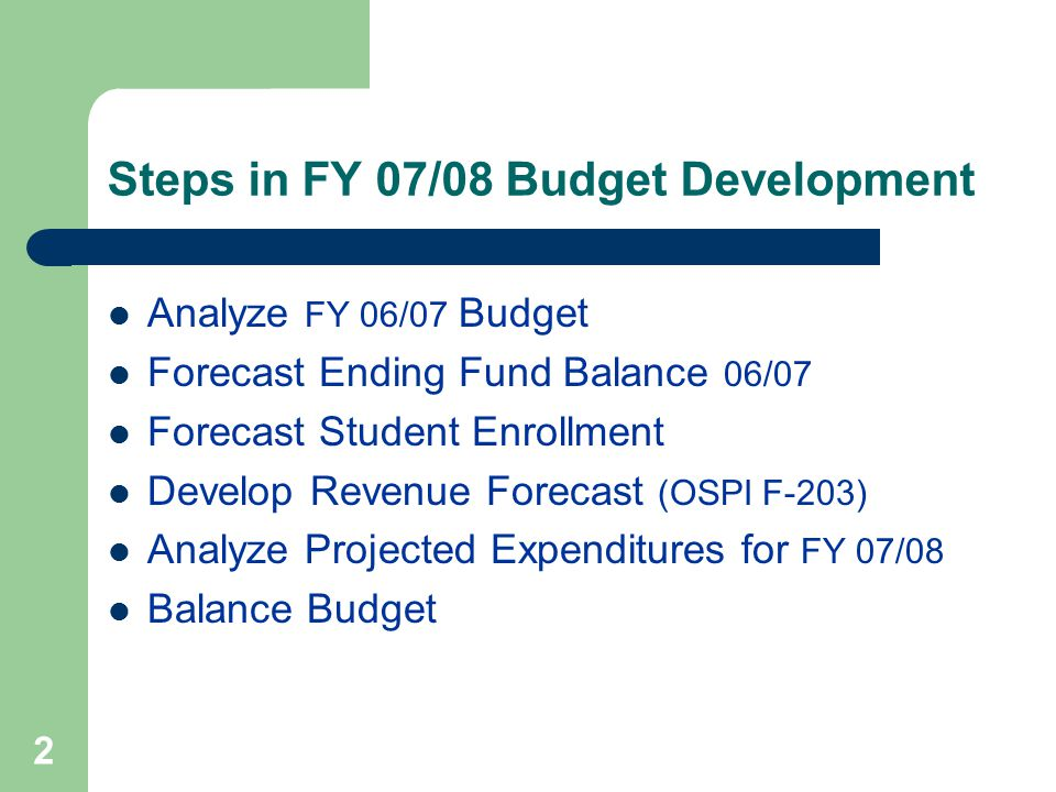 2 Steps in FY 07/08 Budget Development Analyze FY 06/07 Budget Forecast Ending Fund Balance 06/07 Forecast Student Enrollment Develop Revenue Forecast (OSPI F-203) Analyze Projected Expenditures for FY 07/08 Balance Budget