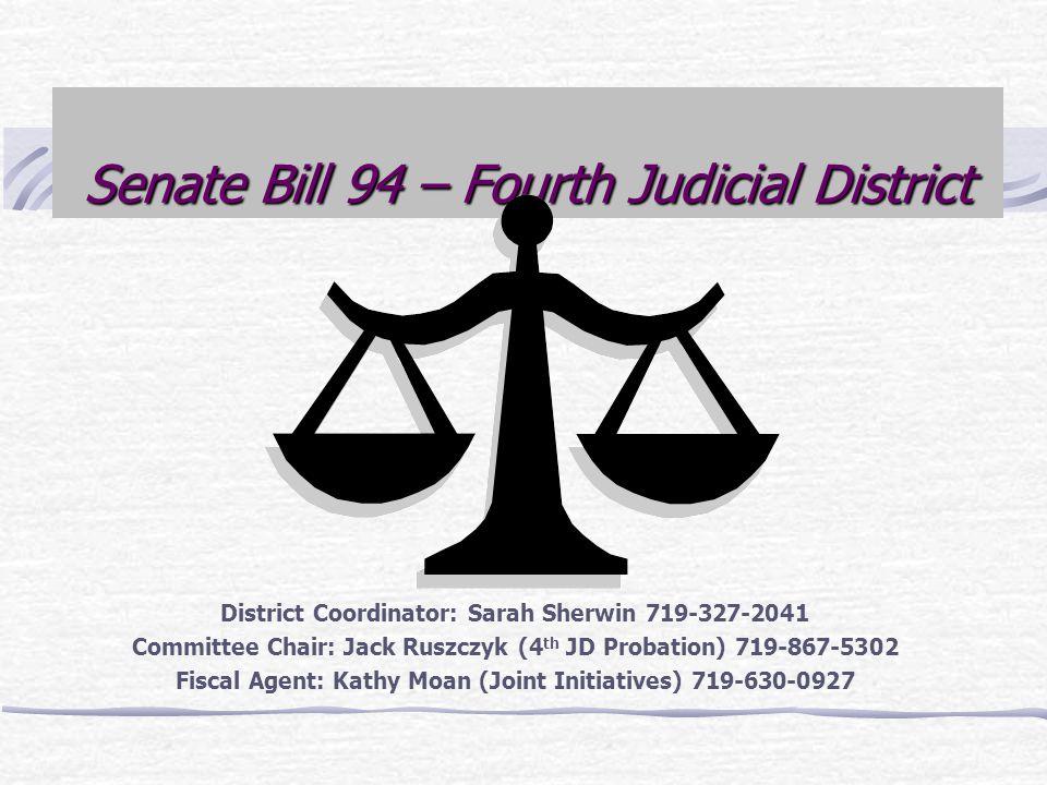 Senate Bill 94 – Fourth Judicial District District Coordinator: Sarah Sherwin 719-327-2041 Committee Chair: Jack Ruszczyk (4 th JD Probation) 719-867-