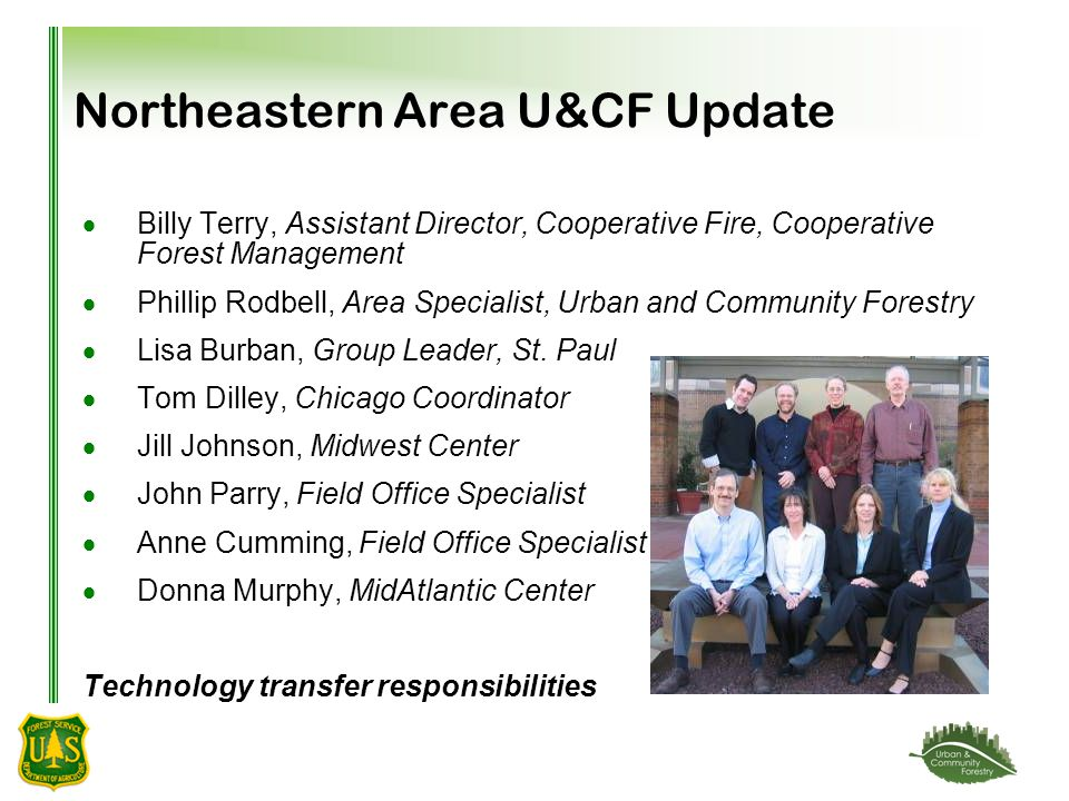 Northeastern Area U&CF Update  Billy Terry, Assistant Director, Cooperative Fire, Cooperative Forest Management  Phillip Rodbell, Area Specialist, Urban and Community Forestry  Lisa Burban, Group Leader, St.