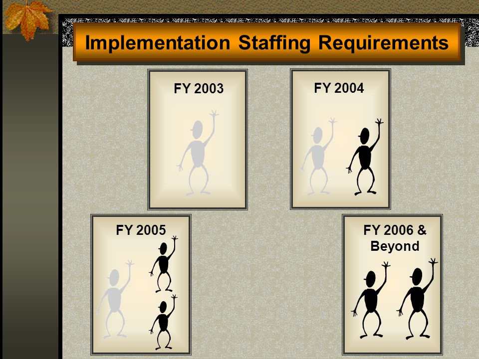 Implementation Staffing Requirements FY 2003 FY 2005 FY 2004 FY 2006 & Beyond