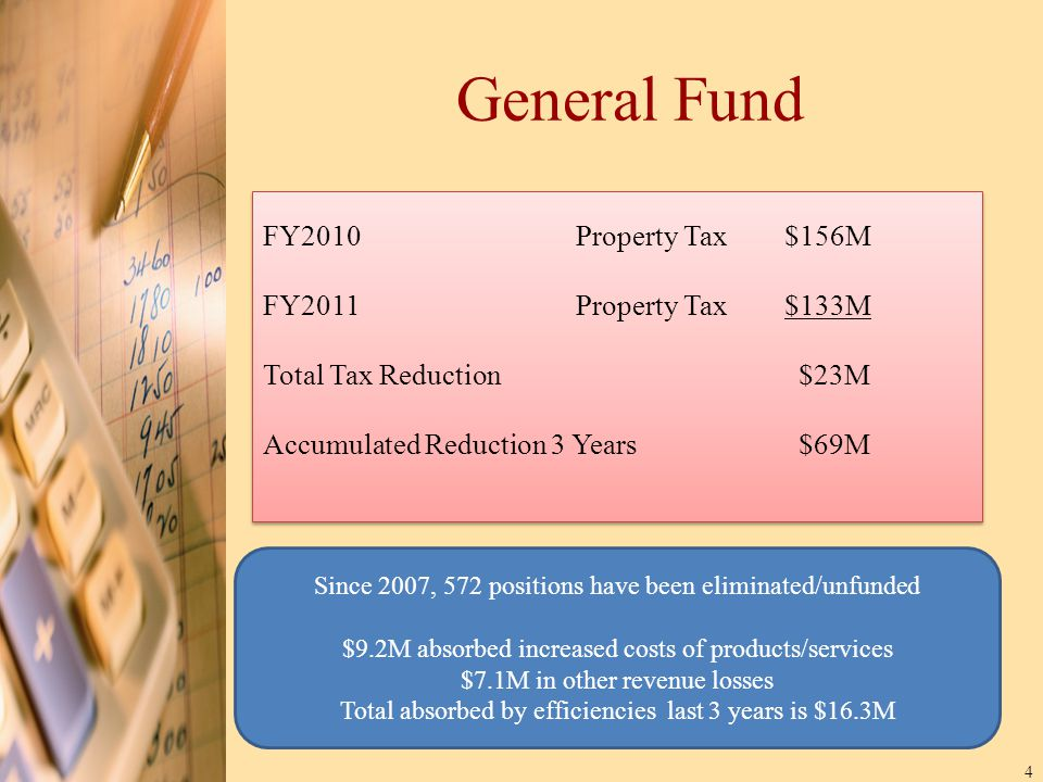 4 General Fund Since 2007, 572 positions have been eliminated/unfunded $9.2M absorbed increased costs of products/services $7.1M in other revenue losses Total absorbed by efficiencies last 3 years is $16.3M FY2010Property Tax$156M FY2011Property Tax $133M Total Tax Reduction $23M Accumulated Reduction 3 Years $69M FY2010Property Tax$156M FY2011Property Tax $133M Total Tax Reduction $23M Accumulated Reduction 3 Years $69M
