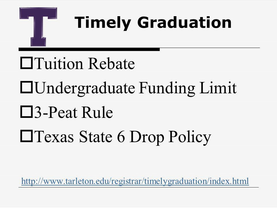  Tuition Rebate  Undergraduate Funding Limit  3-Peat Rule  Texas State 6 Drop Policy http://www.tarleton.edu/registrar/timelygraduation/index.html