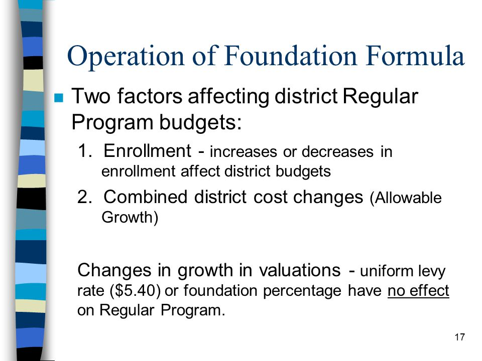 17 Operation of Foundation Formula n Two factors affecting district Regular Program budgets: 1.