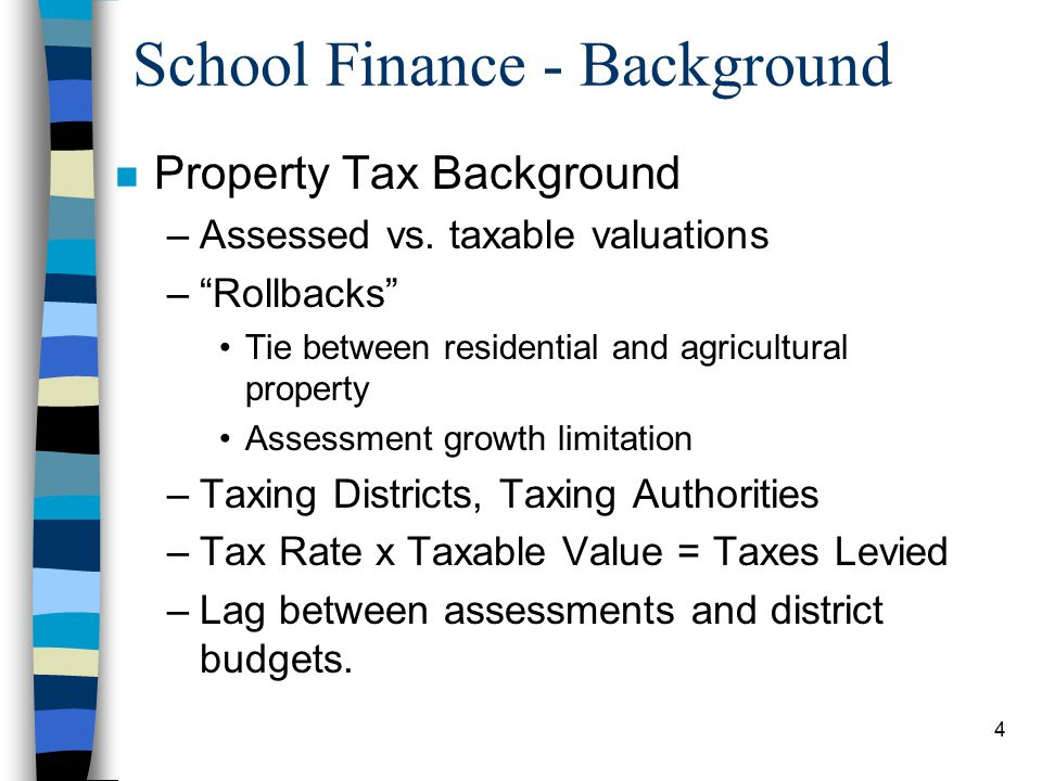 4 School Finance - Background n Property Tax Background –Assessed vs.