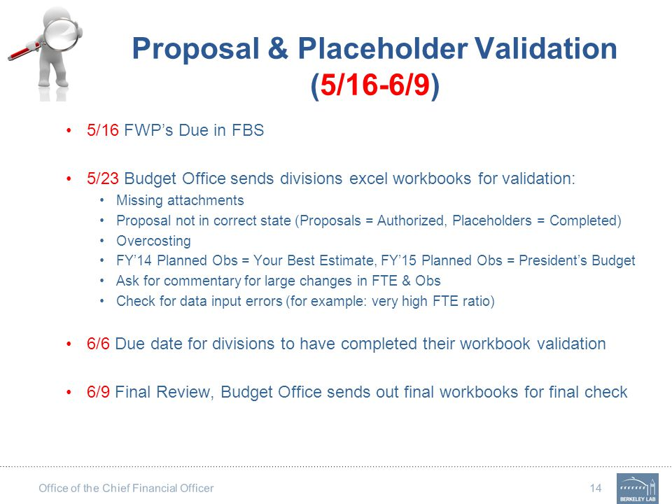 Office of the Chief Financial Officer 14 Proposal & Placeholder Validation (5/16-6/9) 5/16 FWP's Due in FBS 5/23 Budget Office sends divisions excel w