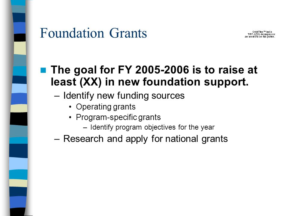 Foundation Grants The goal for FY is to raise at least (XX) in new foundation support.