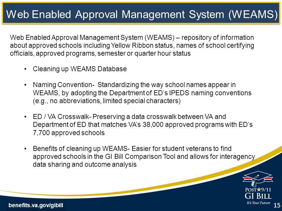 benefits.va.gov/gibill Web Enabled Approval Management System (WEAMS) – repository of information about approved schools including Yellow Ribbon status, names of school certifying officials, approved programs, semester or quarter hour status Cleaning up WEAMS Database Naming Convention- Standardizing the way school names appear in WEAMS, by adopting the Department of ED's IPEDS naming conventions (e.g., no abbreviations, limited special characters) ED / VA Crosswalk- Preserving a data crosswalk between VA and Department of ED that matches VA's 38,000 approved programs with ED's 7,700 approved schools Benefits of cleaning up WEAMS- Easier for student veterans to find approved schools in the GI Bill Comparison Tool and allows for interagency data sharing and outcome analysis Web Enabled Approval Management System (WEAMS) 15