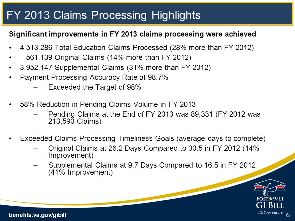 benefits.va.gov/gibill FY 2014 Claims Processing Highlights Continued improvements in FY 2014 On track to process 4.3 million claims in FY 2014 Payment processing accuracy is currently 98.4% As of June 2014, pending claims were 34,393 (61% less than the end of FY 2013) Exceeding claims processing timeliness goals (average days to complete) Original claims processed in 15.6 days compared to 26.2 at the end of FY 2013 (40% improvement) Supplemental claims processed in 5.9 days compared to 9.7 days at the end of FY13 (39% improvement) 7