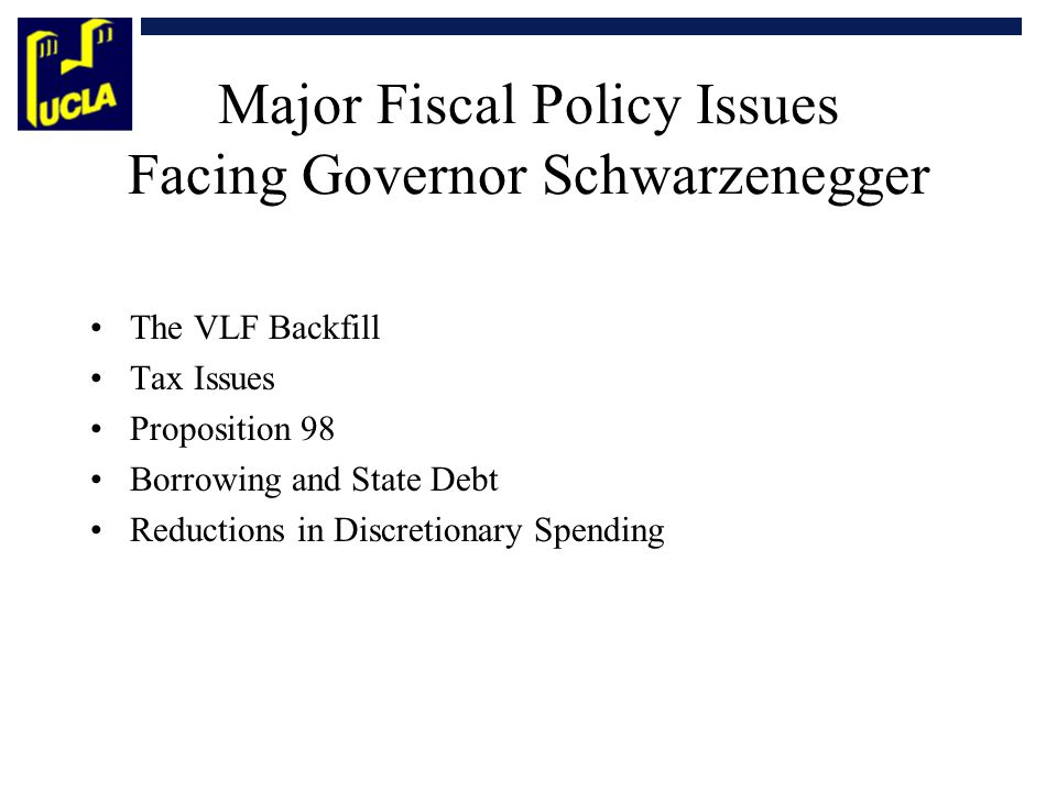 Major Fiscal Policy Issues Facing Governor Schwarzenegger The VLF Backfill Tax Issues Proposition 98 Borrowing and State Debt Reductions in Discretion