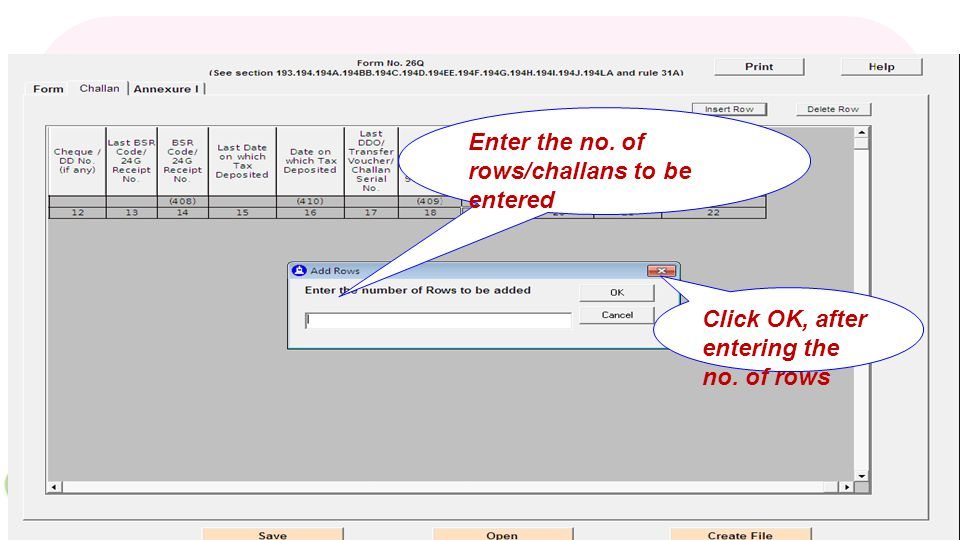 Click, to enter the challan/BIN details Click here, to enter the no.of challan/Transfer voucher details