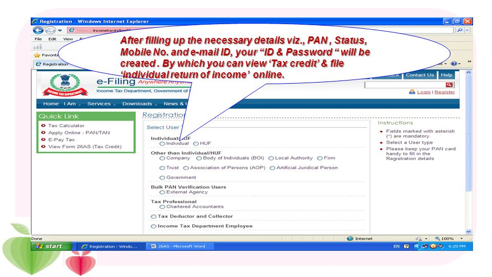 If you are not registered earlier, click here If you are registered user, enter PAN, Password & DOB