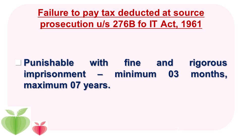 Consequences in case of failure to remit / deduct the TDS Interest at the rate of 1.5% p.m, or part of the month, from the date of deduction to the da