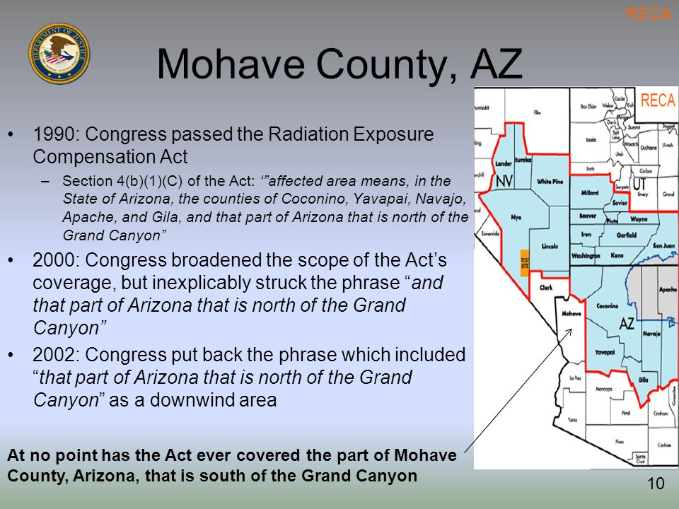Mohave County, AZ 1990: Congress passed the Radiation Exposure Compensation Act –Section 4(b)(1)(C) of the Act: ' affected area means, in the State of Arizona, the counties of Coconino, Yavapai, Navajo, Apache, and Gila, and that part of Arizona that is north of the Grand Canyon 2000: Congress broadened the scope of the Act's coverage, but inexplicably struck the phrase and that part of Arizona that is north of the Grand Canyon 2002: Congress put back the phrase which included that part of Arizona that is north of the Grand Canyon as a downwind area At no point has the Act ever covered the part of Mohave County, Arizona, that is south of the Grand Canyon RECA 10
