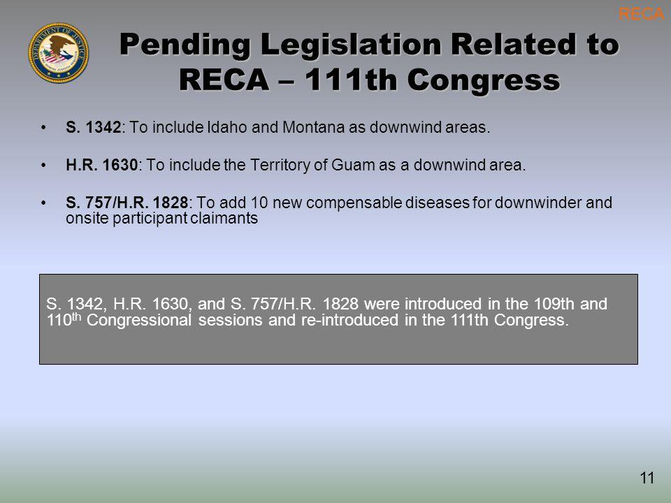 Pending Legislation Related to RECA – 111th Congress S.