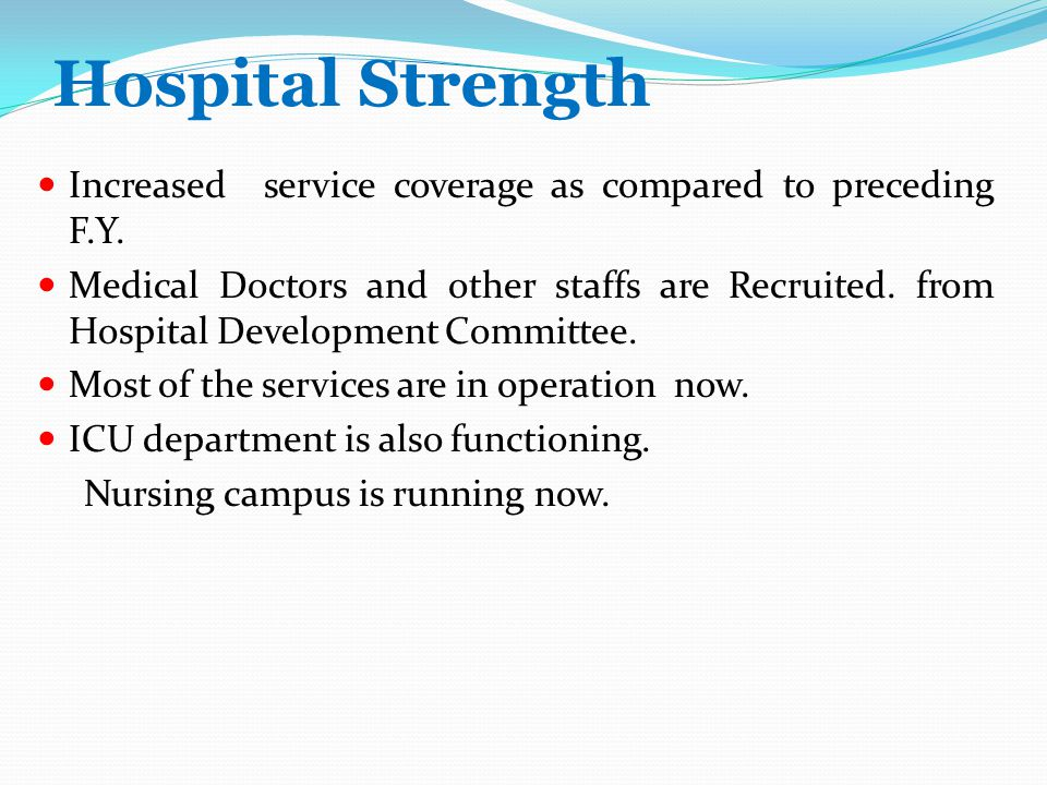 Hospital Strength Increased service coverage as compared to preceding F.Y.