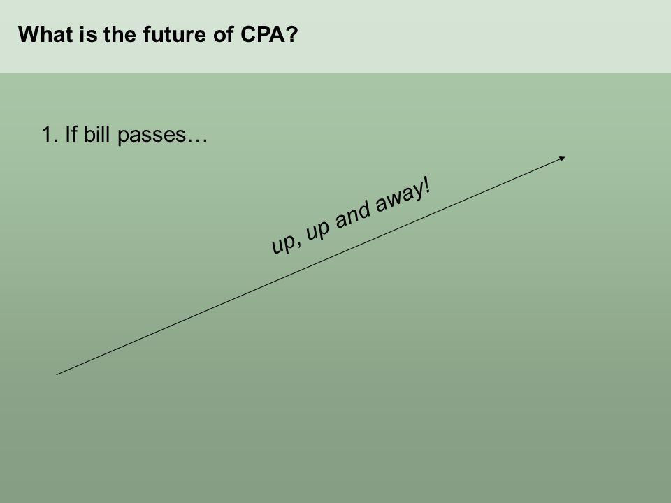 What is the future of CPA 1. If bill passes… up, up and away!