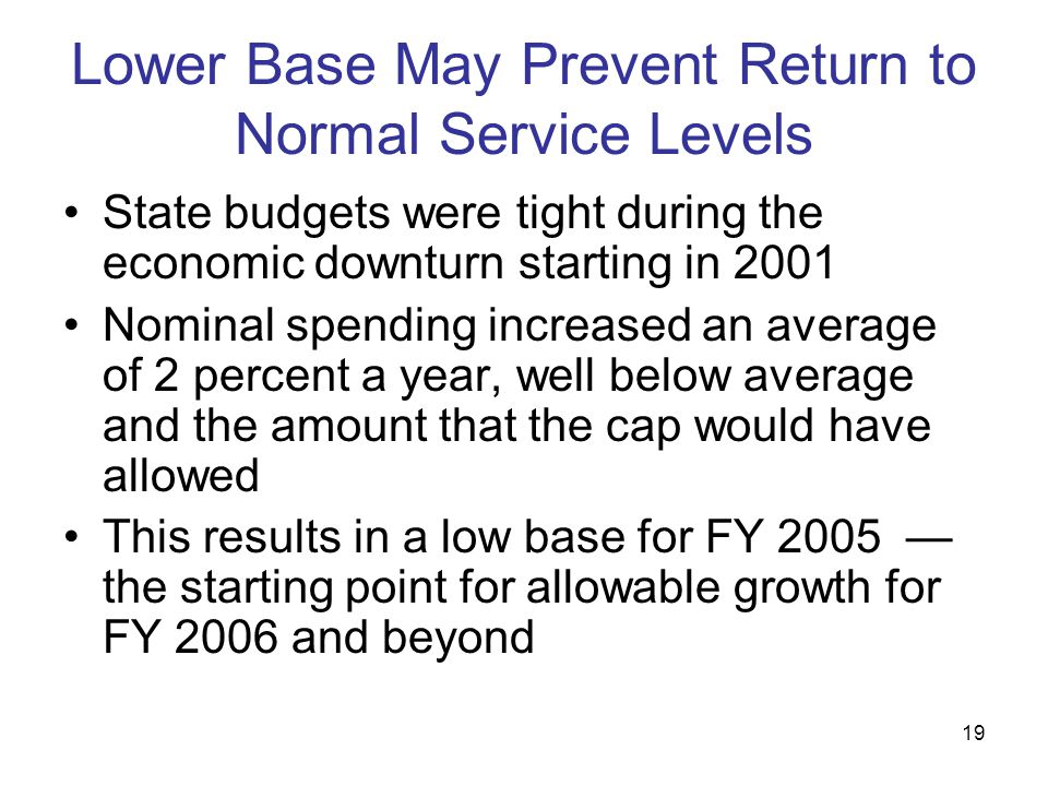 19 Lower Base May Prevent Return to Normal Service Levels State budgets were tight during the economic downturn starting in 2001 Nominal spending incr