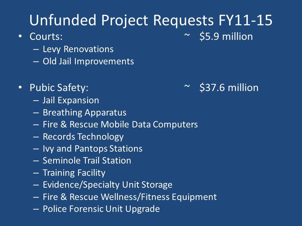 Unfunded Project Requests FY11-15 Courts:~$5.9 million – Levy Renovations – Old Jail Improvements Pubic Safety: ~$37.6 million – Jail Expansion – Brea