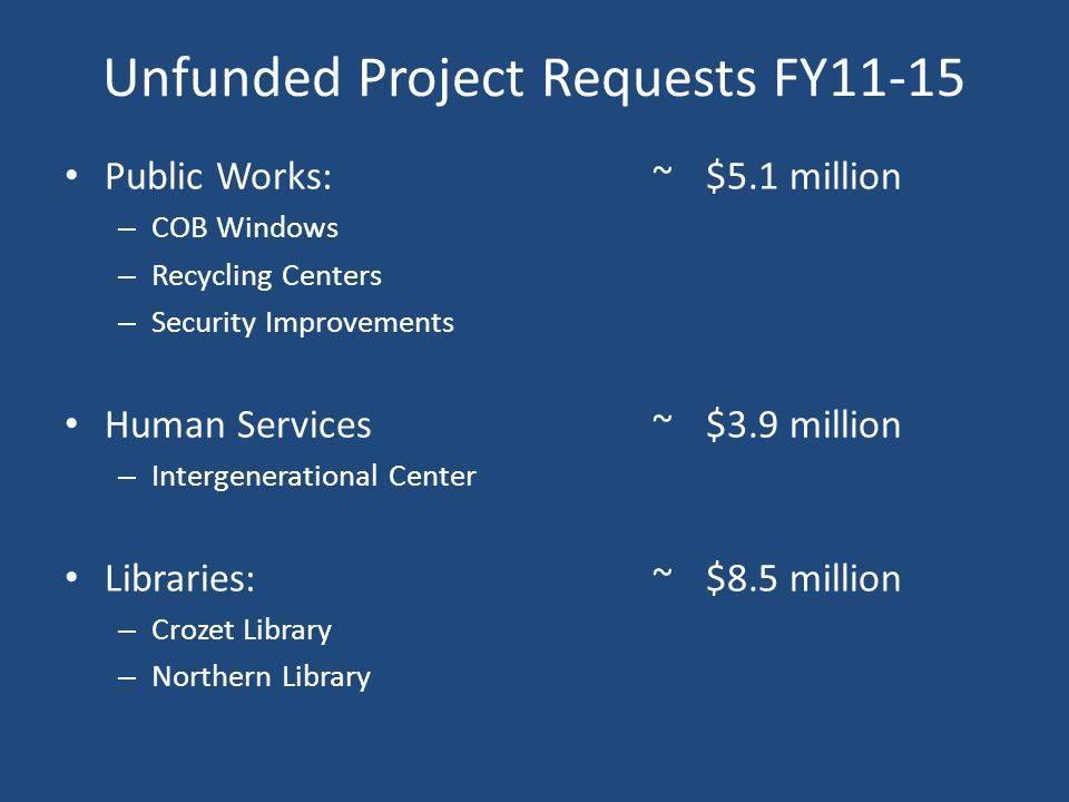 Public Works:~$5.1 million – COB Windows – Recycling Centers – Security Improvements Human Services ~$3.9 million – Intergenerational Center Libraries