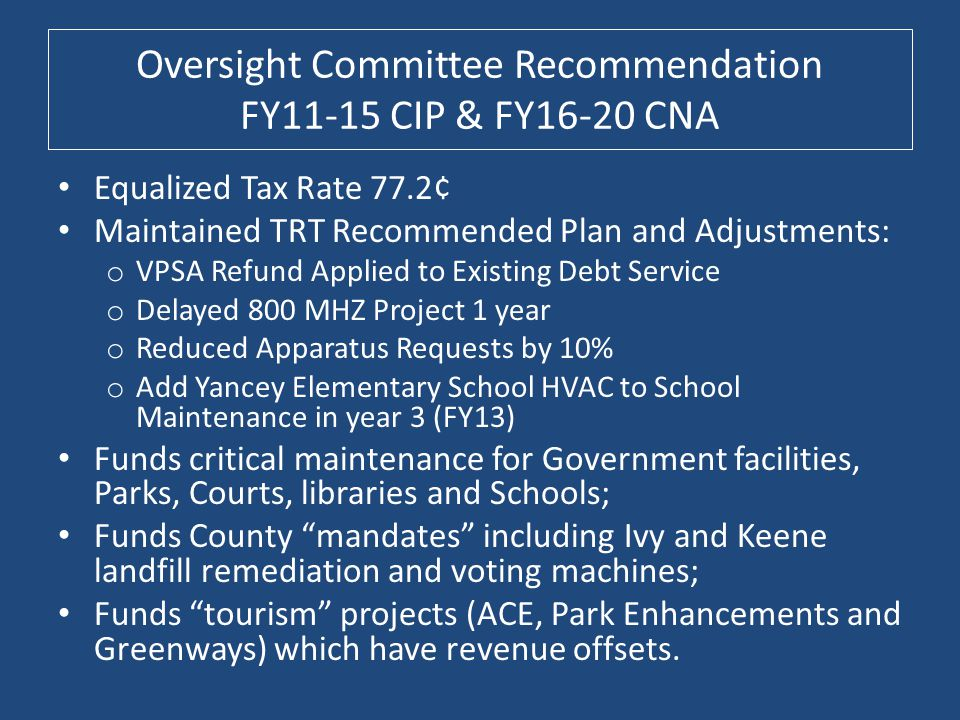 Oversight Committee Recommendation FY11-15 CIP & FY16-20 CNA Equalized Tax Rate 77.2¢ Maintained TRT Recommended Plan and Adjustments: o VPSA Refund A