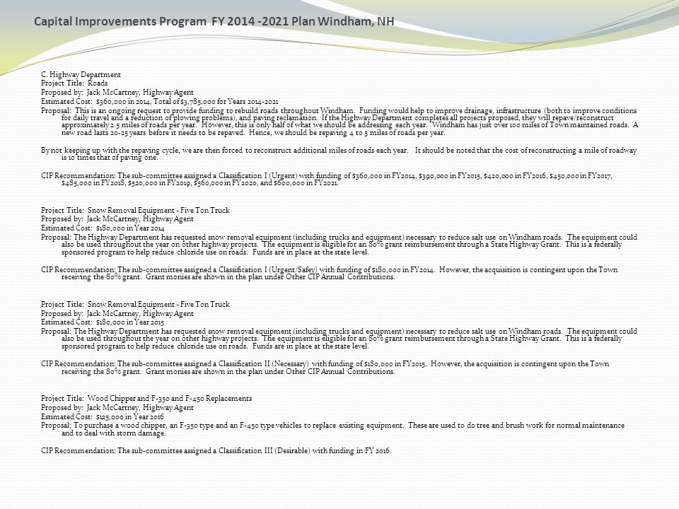 Capital Improvements Program FY 2014 -2021 Plan Windham, NH C. Highway Department Project Title: Roads Proposed by: Jack McCartney, Highway Agent Esti