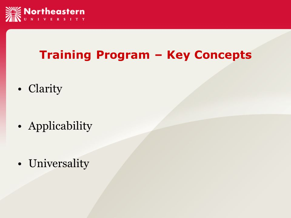 Training Program – Key Concepts Clarity Applicability Universality