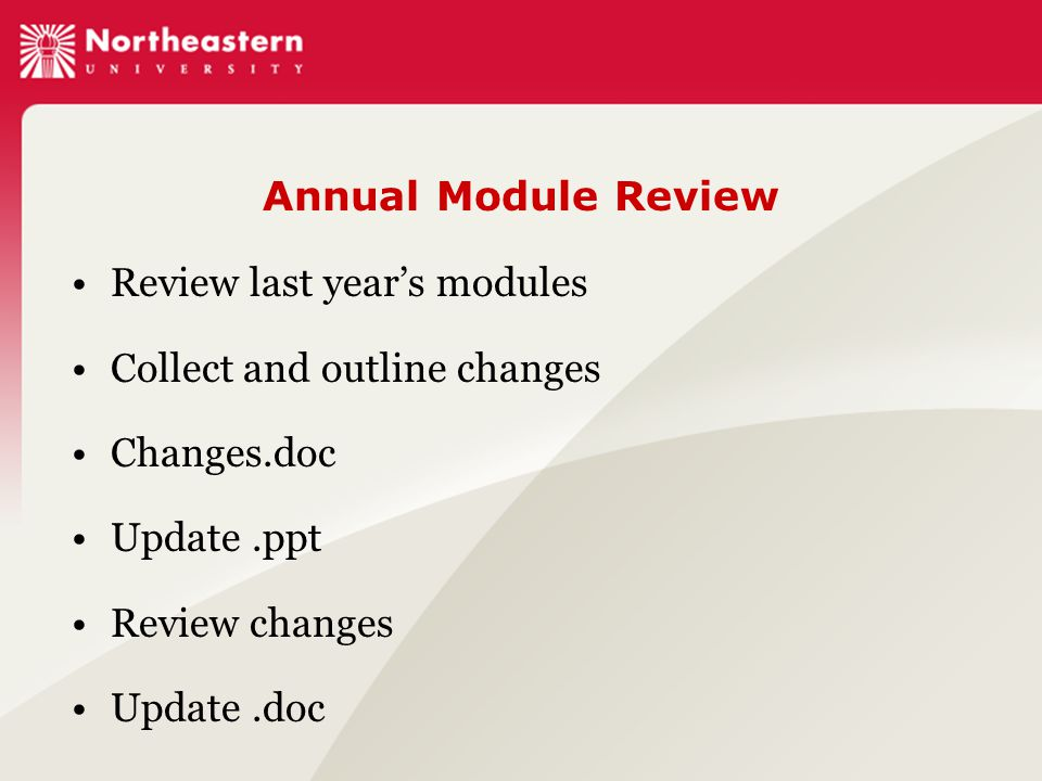 Annual Module Review Review last year's modules Collect and outline changes Changes.doc Update.ppt Review changes Update.doc