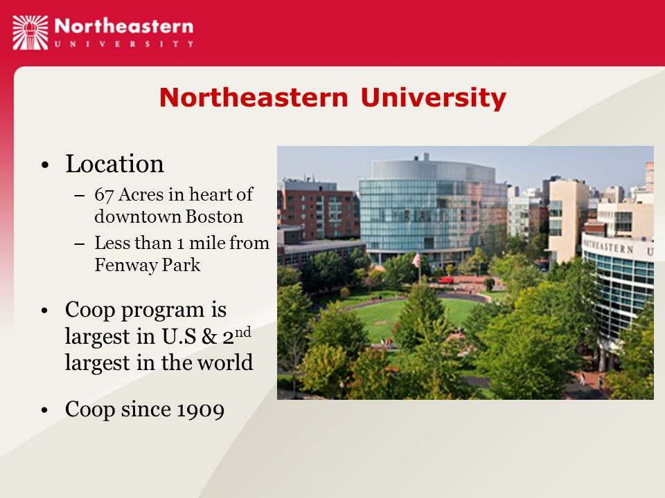 Northeastern University Location –67 Acres in heart of downtown Boston –Less than 1 mile from Fenway Park Coop program is largest in U.S & 2 nd largest in the world Coop since 1909