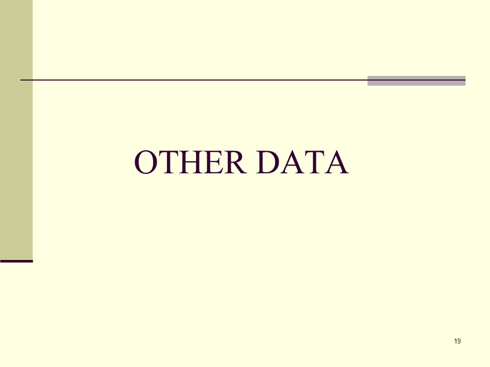 19 OTHER DATA