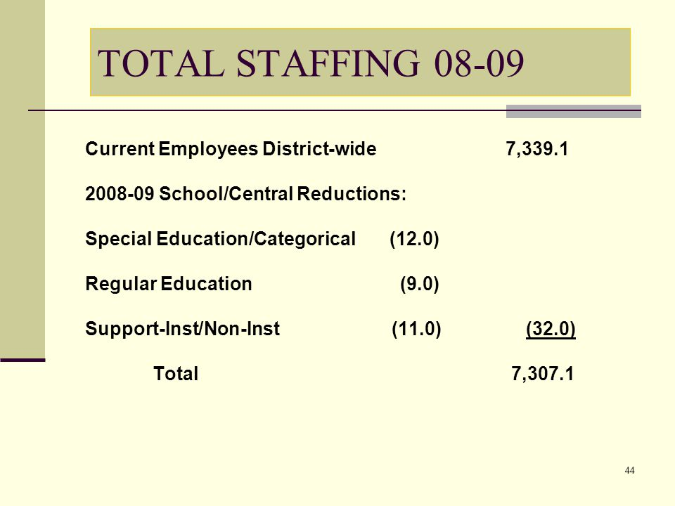 44 TOTAL STAFFING 08-09 Current Employees District-wide 7,339.1 2008-09 School/Central Reductions: Special Education/Categorical (12.0) Regular Education (9.0) Support-Inst/Non-Inst (11.0) (32.0) Total 7,307.1