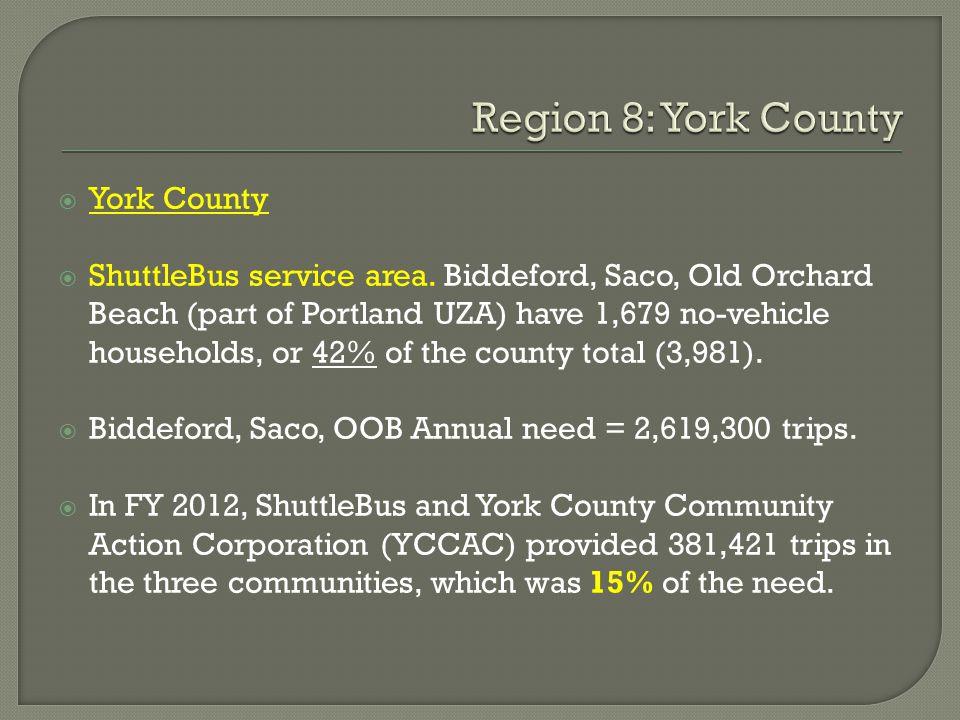  York County  ShuttleBus service area.