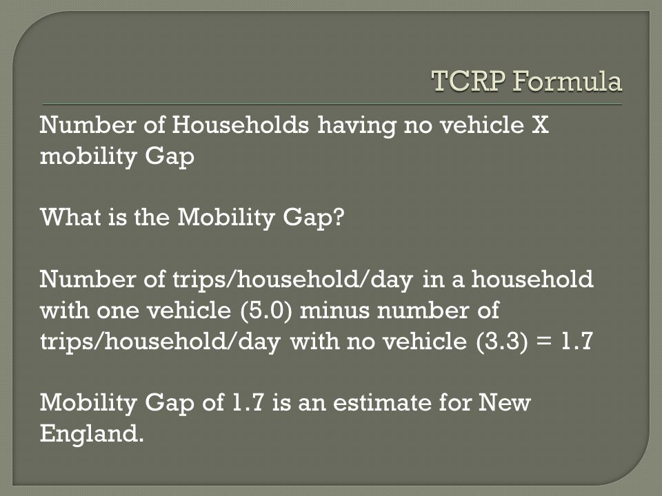 Number of no-vehicle households: 2,472 Daily mobility need: (2,472) x 1.7 = 4,202 trips Annual Mobility Need = 4,202 trips x 300 = 1,260,600 trips.