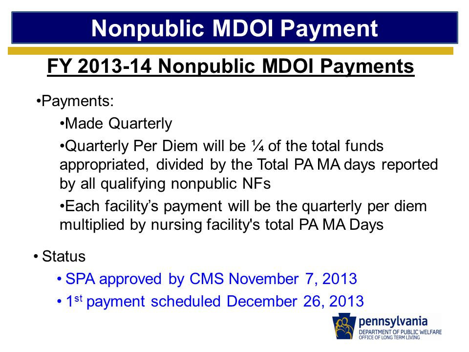 Nonpublic MDOI Payment FY 2013-14 Nonpublic MDOI Payments Payments: Made Quarterly Quarterly Per Diem will be ¼ of the total funds appropriated, divided by the Total PA MA days reported by all qualifying nonpublic NFs Each facility's payment will be the quarterly per diem multiplied by nursing facility s total PA MA Days Status SPA approved by CMS November 7, 2013 1 st payment scheduled December 26, 2013