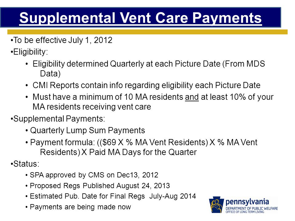 Supplemental Vent Care Payments To be effective July 1, 2012 Eligibility: Eligibility determined Quarterly at each Picture Date (From MDS Data) CMI Reports contain info regarding eligibility each Picture Date Must have a minimum of 10 MA residents and at least 10% of your MA residents receiving vent care Supplemental Payments: Quarterly Lump Sum Payments Payment formula: (($69 X % MA Vent Residents) X % MA Vent Residents) X Paid MA Days for the Quarter Status: SPA approved by CMS on Dec13, 2012 Proposed Regs Published August 24, 2013 Estimated Pub.