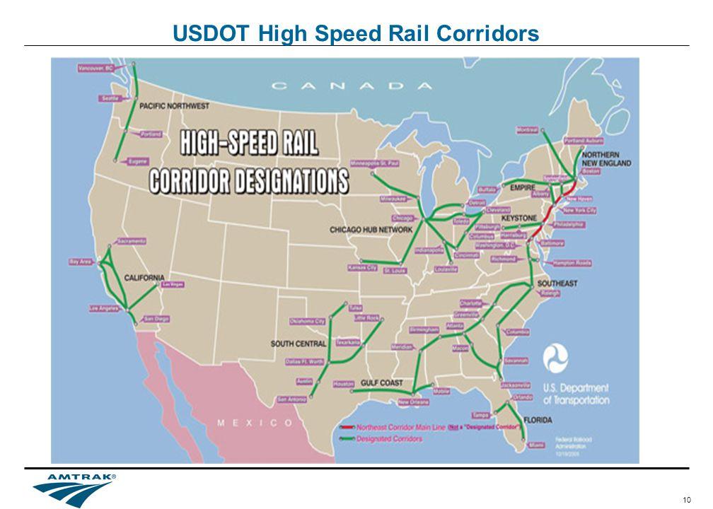 10 USDOT High Speed Rail Corridors